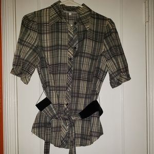 Charlotte Russe Belted Button-down Shirt